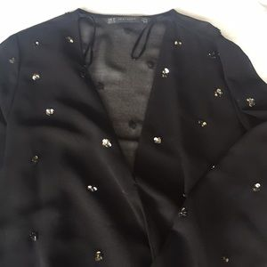 Zara Sheer Black Blouse Size XS